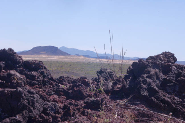 Pinacate Lava Flows with Pinacate Mountains in distance